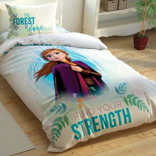 Детское постельное белье светящееся TAC FROZEN 2 DOUBLE ANNA хлопковый ранфорс 1,5 спальный
