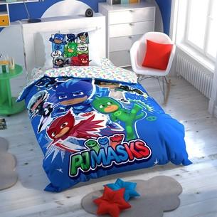 Детское постельное белье светящееся TAC PJ MASKS HERO хлопковый ранфорс 1,5 спальный