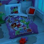 Детское постельное белье светящееся TAC PJ MASKS HERO хлопковый ранфорс 1,5 спальный, фото, фотография