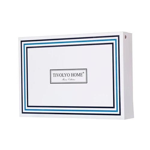 Подарочный набор полотенец для ванной 2 пр. Tivolyo Home NAVY хлопковая махра белый, фото, фотография
