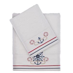 Полотенце для ванной Tivolyo Home NAVY хлопковая махра белый 75х150