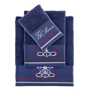 Подарочный набор полотенец для ванной 3 пр. + спрей Tivolyo Home NAVY хлопковая махра синий