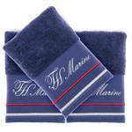 Подарочный набор полотенец для ванной 3 пр. + спрей Tivolyo Home NAVY хлопковая махра синий, фото, фотография