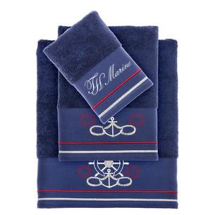Полотенце для ванной Tivolyo Home NAVY хлопковая махра синий 75х150