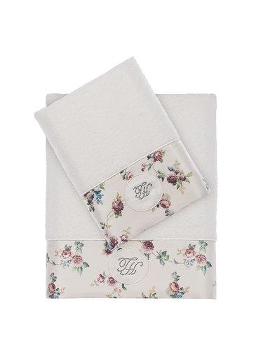 Подарочный набор полотенец для ванной 2 пр. Tivolyo Home ROSELAND хлопковая махра кремовый, фото, фотография