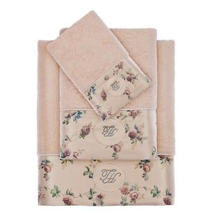 Подарочный набор полотенец для ванной 3 пр. + спрей Tivolyo Home ROSELAND хлопковая махра горчичный