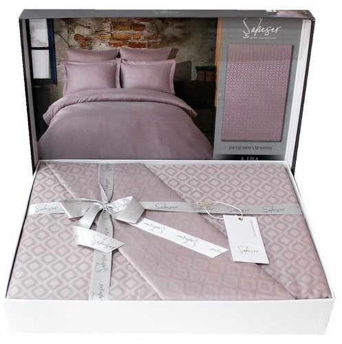 Постельное белье Saheser JACQUARD VIP SATIN DIAMOND хлопковый сатин-жаккард лиловый евро, фото, фотография