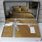 Постельное белье Saheser JACQUARD VIP SATIN HONEY хлопковый сатин-жаккард горчичный евро, фото, фотография