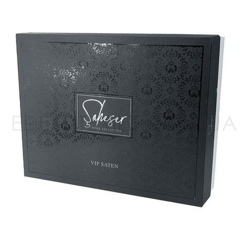 Постельное белье Saheser JACQUARD VIP SATIN HONEY хлопковый сатин-жаккард синий евро, фото, фотография