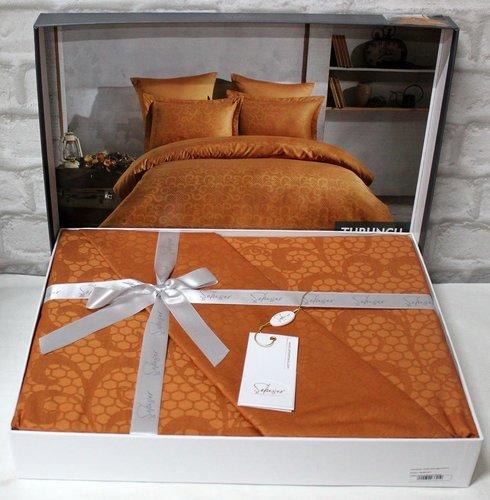 Постельное белье Saheser JACQUARD VIP SATIN HONEY хлопковый сатин-жаккард оранжевый евро, фото, фотография