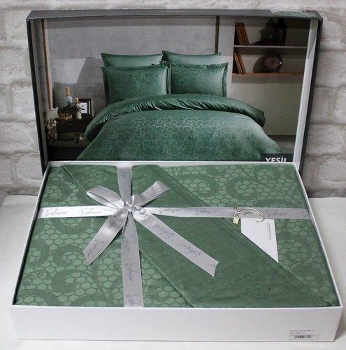 Постельное белье Saheser JACQUARD VIP SATIN HONEY хлопковый сатин-жаккард зелёный евро, фото, фотография