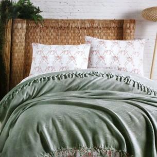 Летнее постельное белье с покрывалом-одеялом пике Saheser MONA хлопковый ранфорс зелёный евро