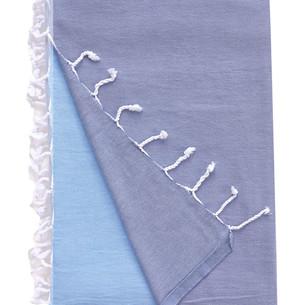Плед пляжный, для пикника, покрывало Begonville BASIC хлопок blue gaze 200х210