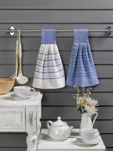 Набор кухонных полотенец 2 шт. Karna LIMBO хлопковая махра V4 30х30, фото, фотография
