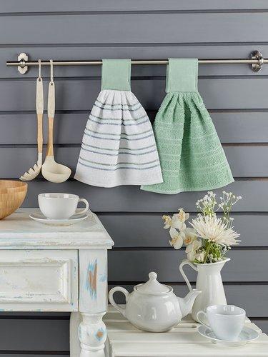 Набор кухонных полотенец 2 шт. Karna LIMBO хлопковая махра V1 30х30, фото, фотография