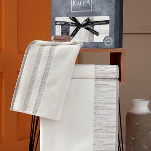 Подарочный набор полотенец для ванной 50х90, 70х140 Karna MORANO хлопковая махра кремовый