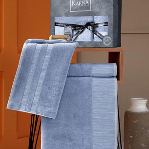 Подарочный набор полотенец для ванной 50х90, 70х140 Karna MORANO хлопковая махра синий