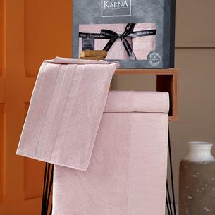 Подарочный набор полотенец для ванной 50х90, 70х140 Karna MORANO хлопковая махра пудра
