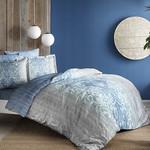 Постельное белье TAC PREMIUM DIGITAL LEORA хлопковый сатин делюкс голубой 1,5 спальный (50х70, 70х70), фото, фотография