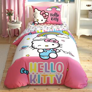 Детское постельное белье TAC HELLO KITTY RAINBOW хлопковый ранфорс 1,5 спальный