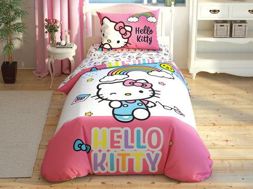 Детское постельное белье TAC HELLO KITTY RAINBOW хлопковый ранфорс 1,5 спальный, фото, фотография