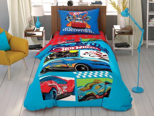 Детское постельное белье TAC HOT WHEELS CHALLENGE хлопковый ранфорс 1,5 спальный, фото, фотография