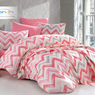 Постельное белье Istanbul Home Collection COTTON LIFE CHEVRON ранфорс розовый 1,5 спальный