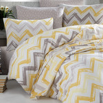 Постельное белье Istanbul Home Collection COTTON LIFE CHEVRON ранфорс жёлтый евро, фото, фотография