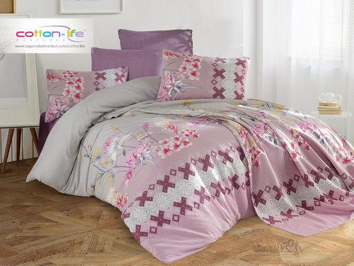 Постельное белье Istanbul Home Collection COTTON LIFE LARISSE ранфорс фиолетовый 1,5 спальный, фото, фотография