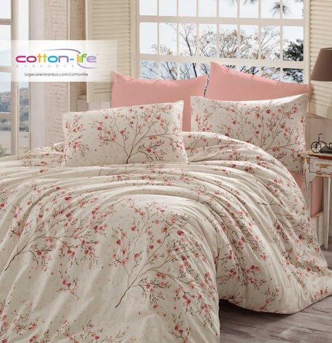 Постельное белье Istanbul Home Collection COTTON LIFE MINA ранфорс кремовый 1,5 спальный, фото, фотография