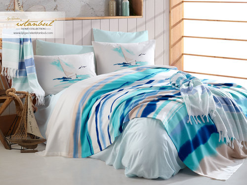 Постельное белье без пододеяльника с покрывалом пике Istanbul Home Collection MARINE MALDIVS хлопковый ранфорс 1,5 спальный, фото, фотография