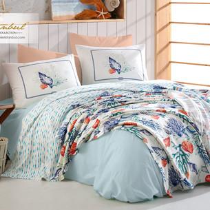 Постельное белье без пододеяльника с покрывалом пике Istanbul Home Collection MARINE DENISE хлопковый ранфорс 1,5 спальный