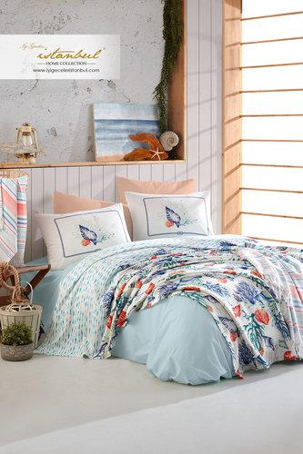 Постельное белье без пододеяльника с покрывалом пике Istanbul Home Collection MARINE DENISE хлопковый ранфорс 1,5 спальный, фото, фотография