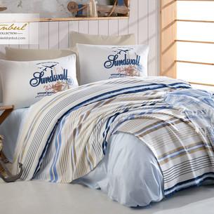 Постельное белье без пододеяльника с покрывалом пике Istanbul Home Collection MARINE CALIFORNIA хлопковый ранфорс 1,5 спальный