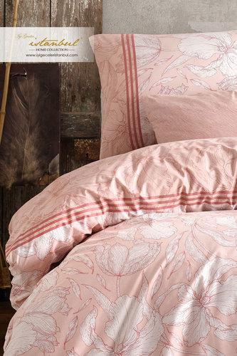 Постельное белье Istanbul Home Collection RANFORCE LEAF хлопковый ранфорс пудра евро, фото, фотография