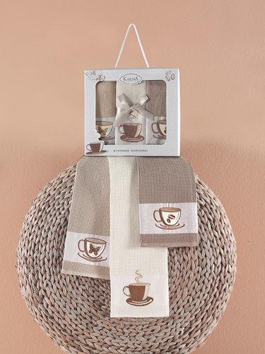 Подарочный набор кухонных полотенец 45х65(3) Karna FRAM хлопковая вафля, фото, фотография
