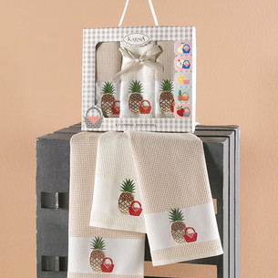 Подарочный набор кухонных полотенец 45х65(3) Karna PANIER хлопковая вафля бежевый