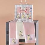 Подарочный набор кухонных полотенец 45х65(3) Karna PANIER хлопковая вафля пудра, фото, фотография