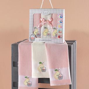 Подарочный набор кухонных полотенец 45х65(3) Karna PANIER хлопковая вафля пудра