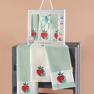 Подарочный набор кухонных полотенец 45х65(3) Karna PANIER хлопковая вафля зелёный