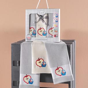 Подарочный набор кухонных полотенец 45х65(3) Karna PANIER хлопковая вафля серый