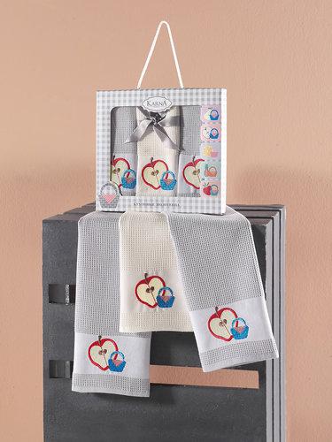 Подарочный набор кухонных полотенец 45х65(3) Karna PANIER хлопковая вафля серый, фото, фотография
