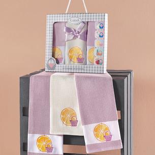 Подарочный набор кухонных полотенец 45х65(3) Karna PANIER хлопковая вафля светло-лавандовый