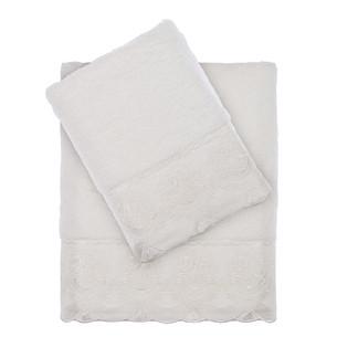 Подарочный набор полотенец для ванной 2 пр. Tivolyo Home DIAMANT хлопковая махра кремовый