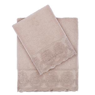 Подарочный набор полотенец для ванной 2 пр. Tivolyo Home DIAMANT хлопковая махра пудра