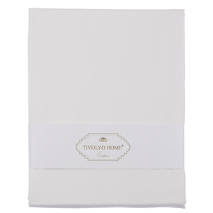 Простынь на резинке с наволочками Tivolyo Home хлопковый сатин делюкс белый 160х200+30