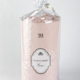 Простынь на резинке с наволочками Tivolyo Home хлопковая махра розовый 160х200+20