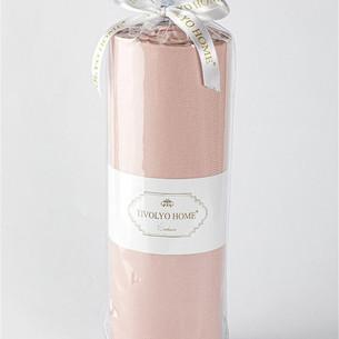 Простынь на резинке с наволочками Tivolyo Home хлопковый сатин делюкс грязно-розовый 100х200+30