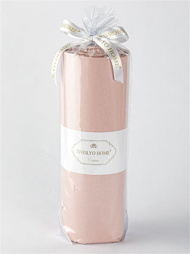 Простынь на резинке с наволочками Tivolyo Home хлопковый сатин делюкс грязно-розовый 160х200+30, фото, фотография