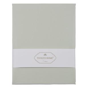 Простынь на резинке с наволочками Tivolyo Home хлопковый сатин делюкс зелёный 100х200+30